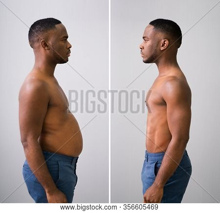 Man Before And After From Fat To Slim Concept Standing Against Grey Background
