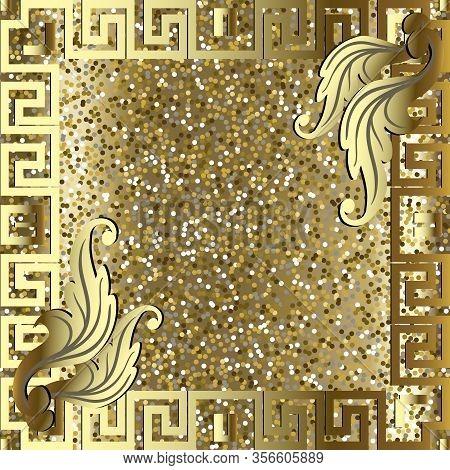 Glittery Gold 3d Frame. Seamless Pattern. Glowing Shiny Golden Background. Repeat Luxury Glitters Ba