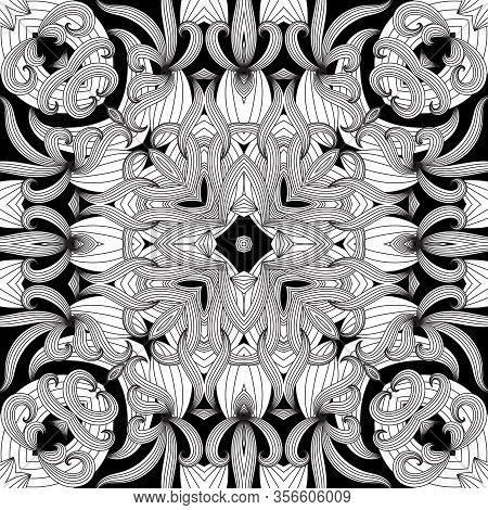 Floral Intricate Seamless Pattern. Vector Abstract Black And White Geometric Background. Line Art Tr