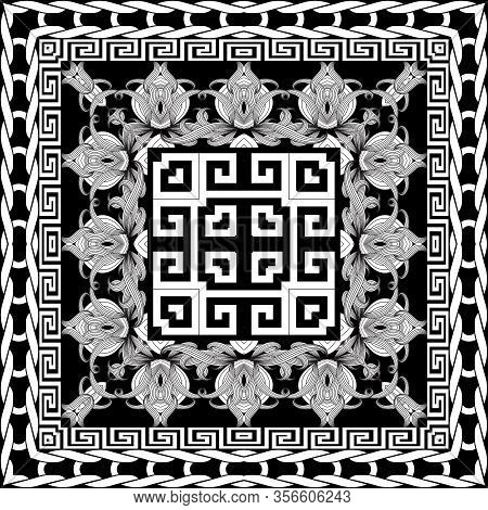 Greek Floral Intricate Meanders Seamless Pattern. Vector Abstract Black And White Background. Line A