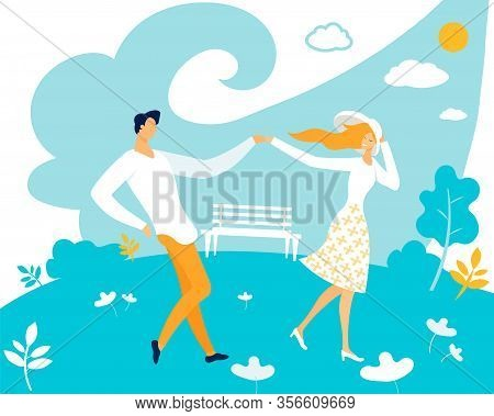 Banner Tender Relationship Couple In Love Flat. Two People, Each Which Retains Its Own Aspirations.