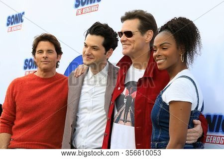 LOS ANGELES - JAN 25:  James Marsden, Ben Schwartz, Jim Carrey, Tika Sumpter at the Sonic The Hedgehog Family Day Event at the Paramount Theatre on January 25, 2020 in Los Angeles, CA