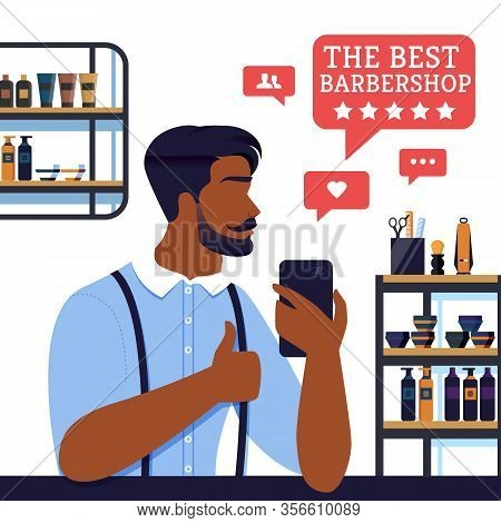 Banner The Best Barbershop Five Stars From Client. Young Bearded And Well-worn Man Visit Barbershop