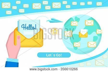 Banner Page With Global Email Marketing Design. Human Hand Holding Open Greeting Hello Electronic Le