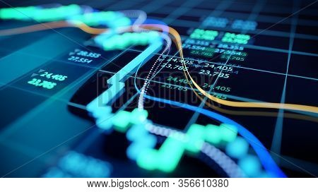Close Up Shot Of A Digital Stock Market Tracking Graph Follwing A Recent Crash In Prices. Bear Marke