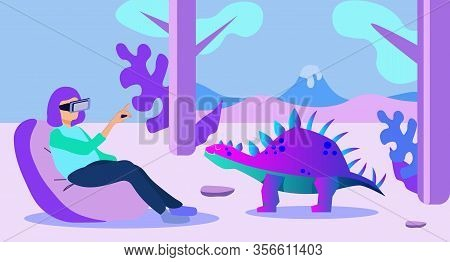 Cartoon Woman Character Wearing Vr Glasses In Mesozoic Jungle Sit In Soft Chair And Have Excited Adv