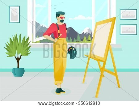 Bearded Artist Cartoon Character Working In Art Studio. Painter Holding Paintbrush And Palette Stand