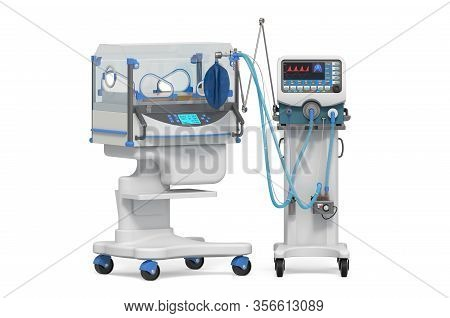 Neonatal Intensive Care Unit, Nicu. Medical Ventilator And Infant Incubator. 3d Rendering Isolated O