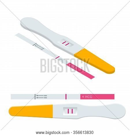 Isometric Positive And Negative Pregnancy Test. Fertility, Pregnancy And Maternity Concept