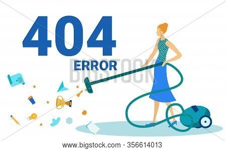 Error 404, Page Not Found, Disconnection From Internet, Unavailable Page Flat Cartoon Vector Illustr