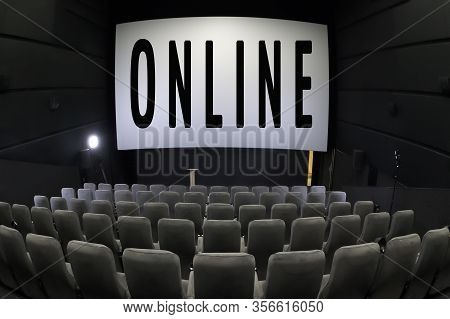 Expanding Your Business Online. Quarantine Concept. Watch Online Background. Cinema With Empty Seats