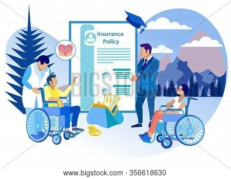 Life Insurance For People With Disabilities Flat. Insurance Agent Works With Rehabilitative Physicia