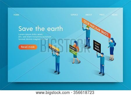 Isometric Banner People Meeting For Save The Earth. Men And Women Oppose Radioactive Release Biologi