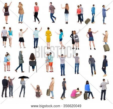 Collection Back view people. Rear view people set. backside view of person. Isolated over white background. many people standing with their backs.