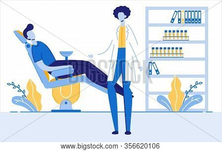 Dentist Doctor Appointment Vector Illustration. Professional Stomatologist Helping Patient In Dental