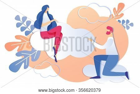 Cartoon Man On Knees Asking Woman Sitting On Cloud Vector Illustration. Kneel Businessman Begging Pr