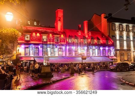 Quebec, Canada Sept 3, 2018:illuminated Famous Restaurants At Night In Quebec City Quebec Qc Canada