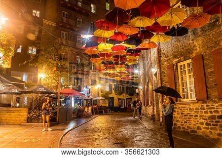 Quebec, Canada Sept 3, 2018:umbrellas Petit Champlain Street In Quebec City Quebec Qc Canada