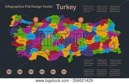 Infographics Turkey Map, Flat Design Colors, With Names Of Individual Regions, Blue Background With