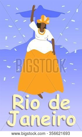 Fat Brazilian Woman In Lush Dress And Headdress. Rio De Janeiro. Fireworks And Carnival. Brazilian C