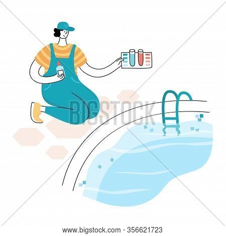Vector Isolated Illustration Of Man Cheking And Balancing Ph Levels Of Swimming Pool Water With Pool