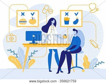 Cartoon Nutritionist Doctor With Apple Fruit In Hand Consult Patient Vector Illustration. Healthy Ve