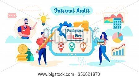 Internal Audit Development Plan Cartoon Flat. Managers Develop Plan. Determination Reliability Repor