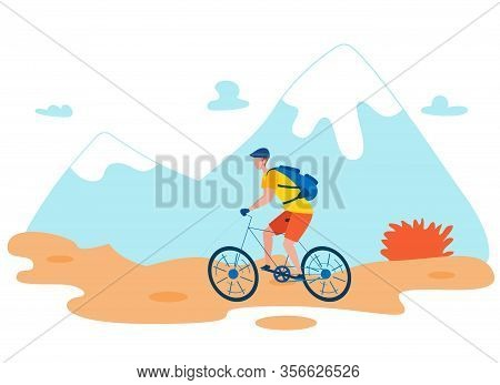 Backpacker Riding Bicycle Flat Vector Character. Tourist On Bike In Wilderness Area, Enjoying Nature