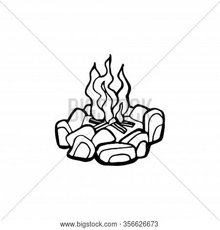 Vector Poster With Hand Drawn Campfire. Flame And Burn, Firewood And Energy, Fireplace And Bonfire,