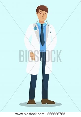 Family Doctor, Therapist Flat Vector Character. Practitioner, Paramedic Wearing Professional Uniform