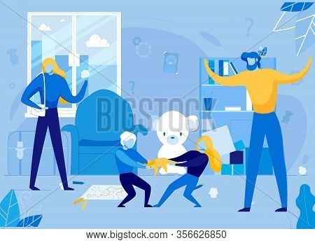 Hyperactive Fighting Children, Brother And Sister Conflict. Flat Cartoon Vector Illustration. Psycho