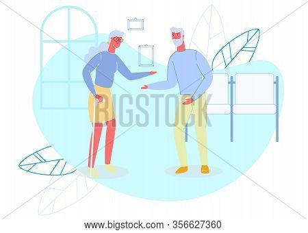 Old Married Couple At Hospital Or Nursing Home. Old Woman With Walking Stick And Aged Bearded Man Me