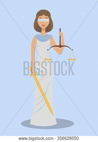 Themis, Blind Justice Flat Vector Illustration. Ancient Greek Justice Goddess Cartoon Character. You