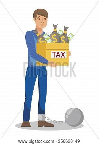 Illegal Tax Evasion Cartoon Vector Illustration. Corruption, Financial Fraud. Imprisoned, Arrested W