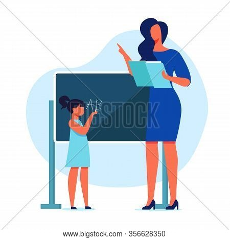 Primary School Education Flat Vector Illustration. Teacher And Little Schoolgirl Cartoon Characters.