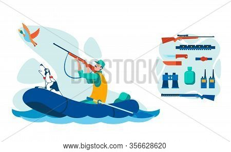 Water Bird Hunting Equipment Illustrations Set. Man With Dog In Inflatable Boat Flat Vector Characte