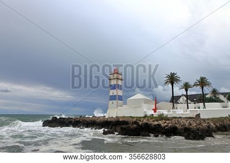 View of Santa Marta lighthouse and Municipal museum of Cascais, in Portugal