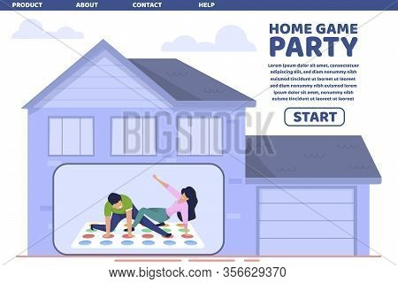 Flat Home Game Party Bright Poster Lettering. Free Time Organized In Home Leisure. Cheerful Company
