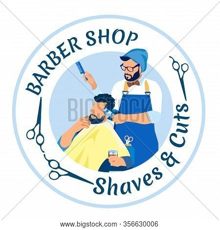 Haircutter Giving Haircut To Man Customer In Barbershop. Professional Hair Stylist Working Professio