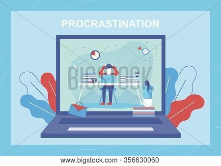 Procrastination Flat Banner. Troubled Man Thinking About Lost Time, Burning Deadline, Lots Unfinishe