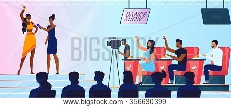 Dancing Show, Contest Flat Vector Illustration. Young Contestant, Judges And Viewers Cartoon Charact