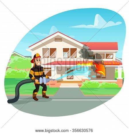 Suburban House On Fire. Brave And Highly Skilled Fireman With In Bright Blue Eyes And Big Toothy Smi