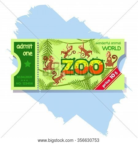 Admission Zoo Ticket Admit One Card Or Coupon To Safari Zoo. Funny Monkeys Jumping On Lianas And Pal
