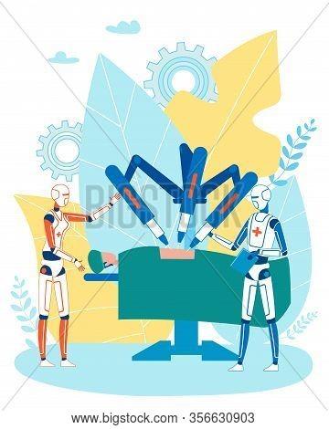Smart Robot Medicine And Robotized Surgeon Cartoon. Cartoon Humanoids Doctor And Cyborg Assistant Co