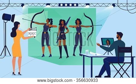 Action Movie Production Flat Vector Illustration. Actresses, Director Assistant And Producer Cartoon