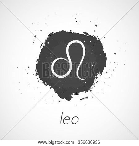 Vector Illustration With Hand Drawn Zodiac Sign Leo On A Grunge Ink Background. Monochrome.