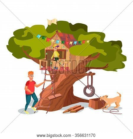 Cartoon Father Son Dog Build House On Tree Vector Illustration. Wooden Building Construction. Kid Pl