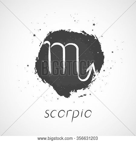 Vector Illustration With Hand Drawn Zodiac Sign Scorpio On A Grunge Ink Background. Monochrome.