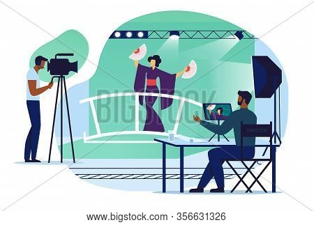 Musical Video Recording Flat Vector Illustration. Actress, Cameraman And Director Cartoon Characters