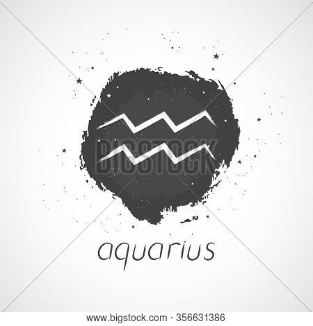 Vector Illustration With Hand Drawn Zodiac Sign Aquarius On A Grunge Ink Background. Monochrome.